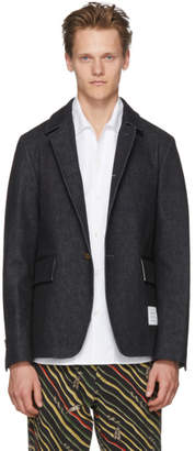 Thom Browne Blue Denim Throw On Cutaway Blazer