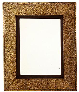 One Kings Lane Vintage Golden Mirror with Brown Velvet Matting
