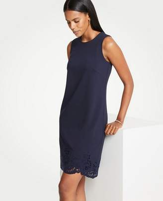Ann Taylor Petite Laser Cut Scalloped Shift Dress