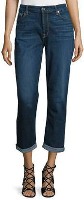 7 For All Mankind Jen7 by Cropped Rolled-Cuff Straight-Leg Jeans, Dark Blue