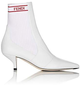 Fendi Women's Rockoko Leather Ankle Boots - White