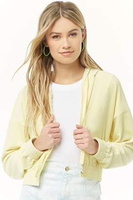 Forever 21 Hooded Velour Zip-Front Jacket