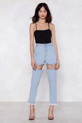 Nasty Gal Keep 'Em in Suspender Mom Jeans