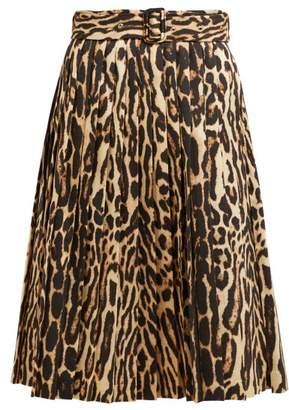 Burberry Leopard Print Pleated Silk Blend Skirt - Womens - Leopard