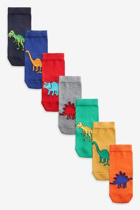 Next Boys Bright 7 Pack Cotton Rich Bright Dinosaur Socks (Younger) - Red