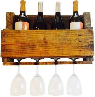Ladybagssf LadyBagsSF Walnut Reclaimed Wood Wine Rack, 4 Bottle