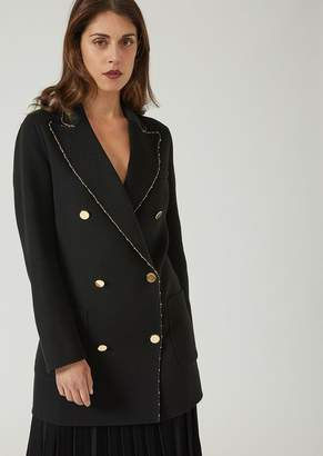 Emporio Armani Double-Breasted Wool Broadcloth Coat With Gold Trim