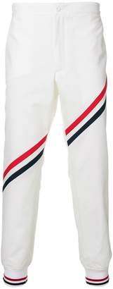 Thom Browne Unconstructed Side Tab Rib Knit Track Trouser With Seamed In Diagonal Stripe In Nylon Tech