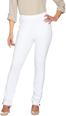 Susan Graver Ponte Knit Pull-On Slim Leg Pants with Snaps