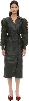 Liya FAUX LEATHER COAT W/KNITTED SLEEVES