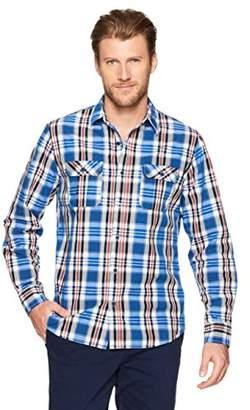 Wood Paper Company Men's Long Sleeve Regular Fit Notched Flap 2-Pocket Cotton Plaid Shirt