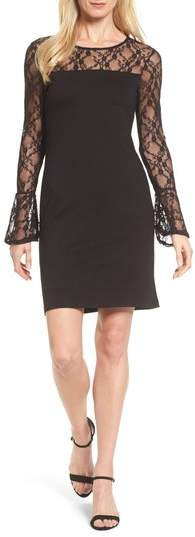 Bobeau Flared Cuff Lace Sleeve Dress