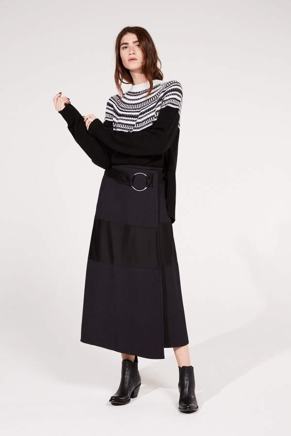 Amanda Wakeley Black Jacquard Knit Oversized Jumper