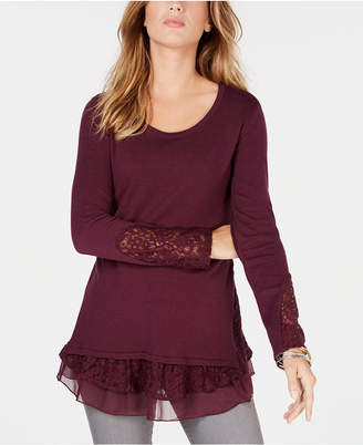 Style&Co. Style & Co Petite Lace Hem Tunic Sweater, Created for Macy's