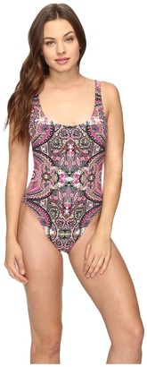 Lucky Brand Tapestry High Leg Tank Maillot One-Piece $104 thestylecure.com