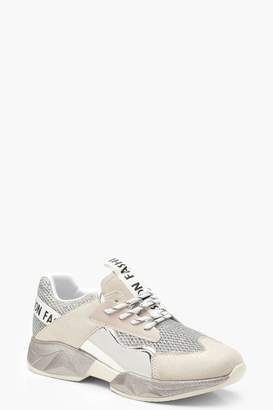 boohoo Tonal Metallic Panel Trainers