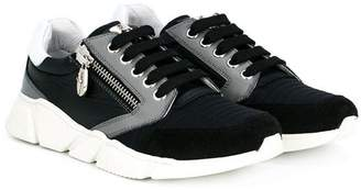 Cesare Paciotti Kids zip-detailed lace-up sneakers