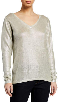 Neiman Marcus Majestic Paris for Metallic V-Neck Long-Sleeve Silk Sweater