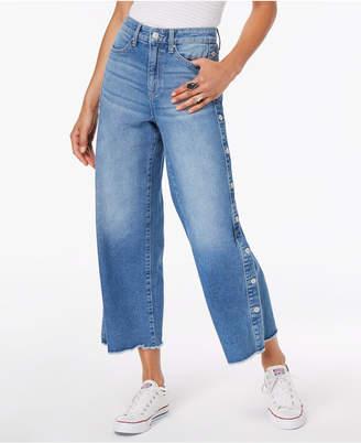 Black Daisy Juniors' Button Wide-Leg Jeans