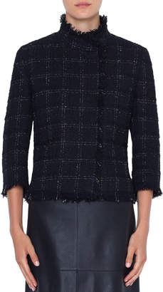 Akris Punto 3/4-Sleeve Check Tweed Jacket