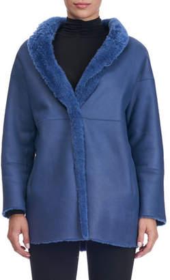 Christia Shearling Fur-Lined Shawl-Collar Coat