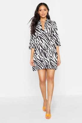 boohoo Tall Zebra Print Smock Dress