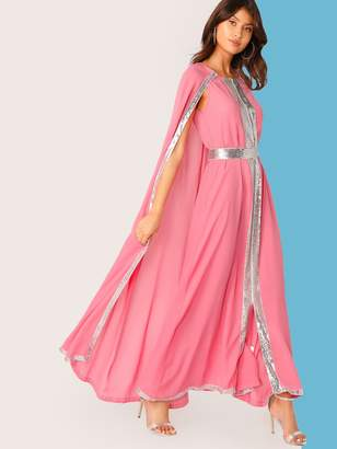 Shein Neon Pink Contrast Sequin Split Hem Cape Dress
