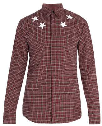 Givenchy Star Print Checked Cotton Shirt - Mens - Red