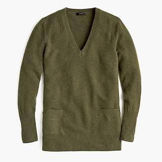 J.Crew V-neck front-pocket tunic sweater in supersoft yarn
