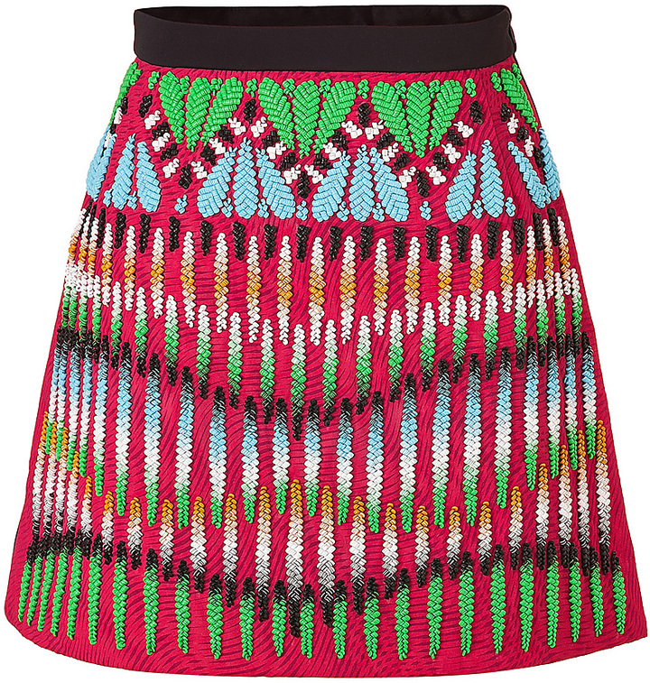 Peter Pilotto Crimson Red-Multi Embroidered Front Natalie Skirt