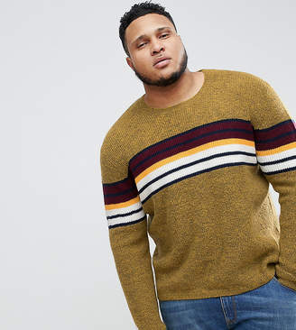 Asos DESIGN PLUS Knitted Sweater With Color Block Stripe