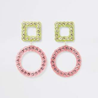 River Island Pink rhinestone embellished stud drop earrings