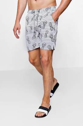 boohoo Pineapple Stripe Print Swim Short
