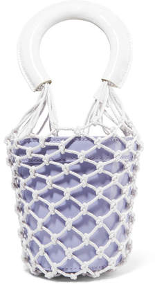 STAUD - Moreau Mini Macramé And Patent Leather Bucket Bag - Lavender