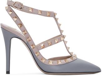 Valentino Grey & Pink Rockstud Cage Heels $995 thestylecure.com