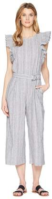 Vince Camuto Ruffled Sleeveless Belted Stripe Linen Jumpsuit Women's Jumpsuit & Rompers One Piece
