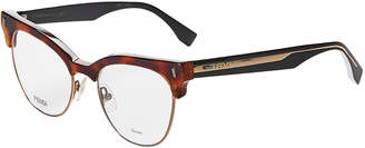 Fendi FF0163 Tortoiseshell-Look Clubmaster Cat Eye Optical Frames