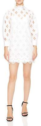 Sandro Houle Embroidered Eyelet Mini Dress