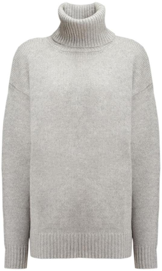 Cashmere Luxe Roll Neck Sweater in GREY CHINE