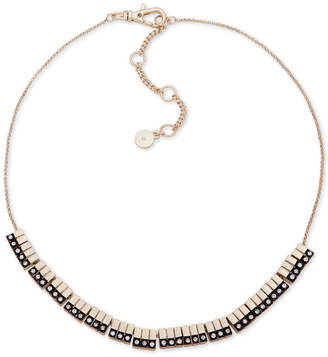 "DKNY Two-Tone Pave Bar Collar Necklace, 16"" + 3"" extender"