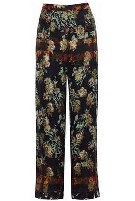 Etro Embroidered Floral-Print Silk-Chiffon Wide-Leg Pants