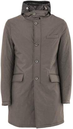 Herno Raincoat In Mud-tone High Tech Fabric.