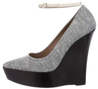 Burberry Chambray Pointed-Toe Platform Wedge Pumps