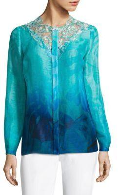Elie Tahari Ronisha Dotted Floral Lace Blouse $368 thestylecure.com