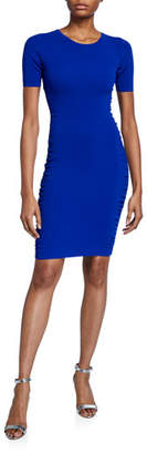 Milly Shirred Side Short-Sleeve Fitted Dress
