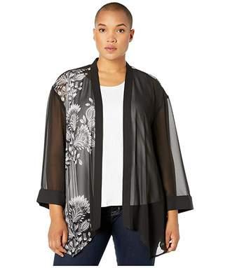 Vince Camuto Specialty Size Plus Size Ornate Melody Border Chiffon Kimono Blouse