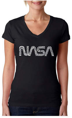 La Pop Art Women Word Art V-Neck T-Shirt - Worm Nasa