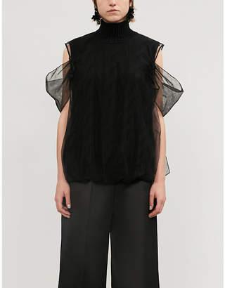 Simone Rocha Cold-shoulder mesh-overlay wool-blend tank top