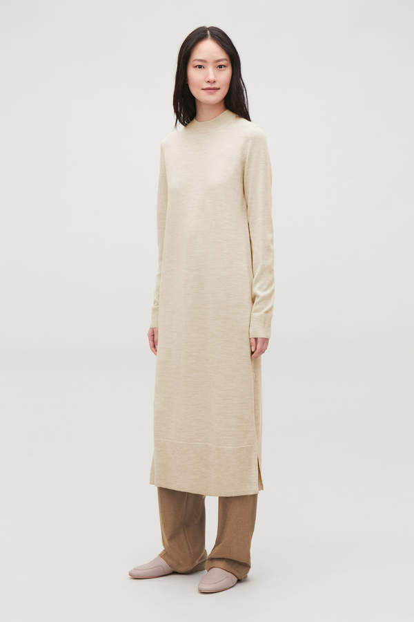 LONG WOOL-KNIT DRESS
