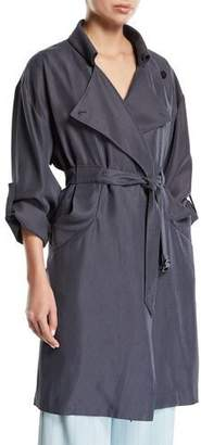 Emporio Armani Belted Melange Trench Coat